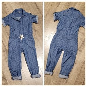 Girls Dark Denim Jumpsuit